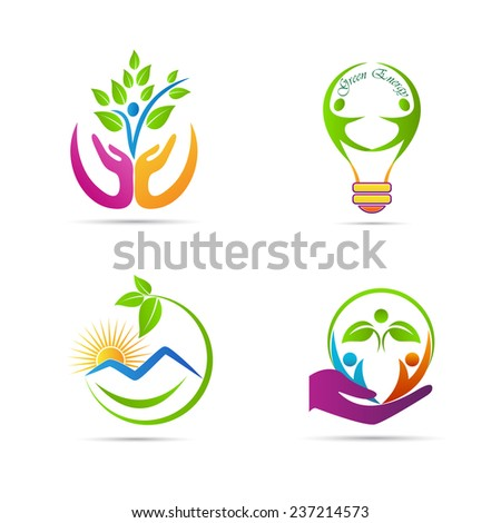 Nature icons vector design represents save green, save nature, Eco green energy, signs and symbols.