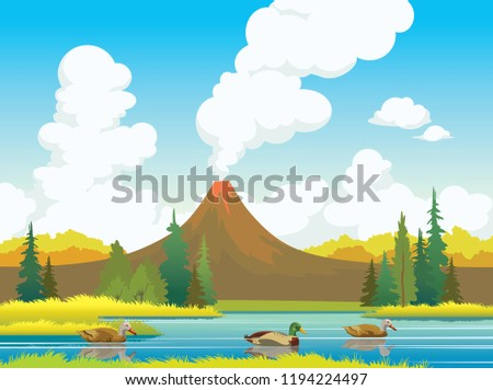 nature illustration with three
