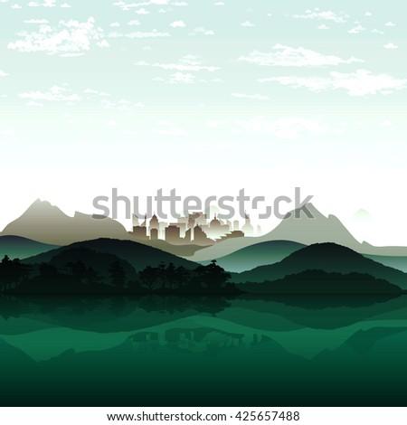nature lake on background of