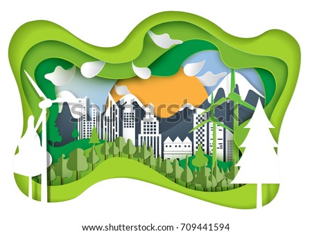 Nature landscape and green eco city concept.Paper carve of environment conservation conceptual design paper art style.Vector illustration.