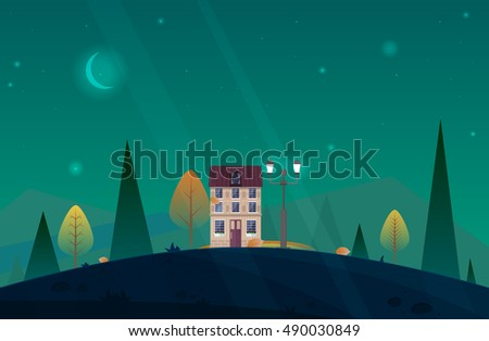 Nature landscape.Autumn landscape.Vector.Nature landscape with yellow trees and leaves,house in the deep wood forest,moon,stars.Cartoon background fog game and web,greeting cards design.Nature scene.