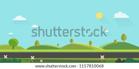 Nature landscape background. cute flat design.Green Hills with blue sky.Public park with nature and street.Vector illustration