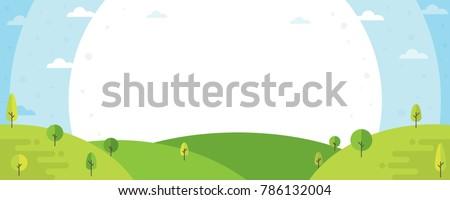 Nature landscape background. Cute flat design with trees. Summer landscape illustration.