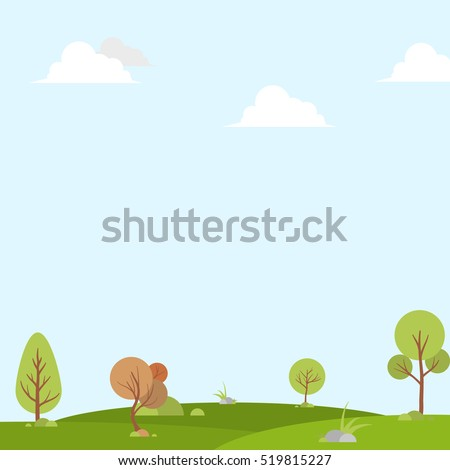 nature landscape background, cuted flat design, vector illustration