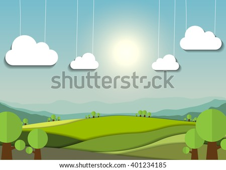 nature landscape background, cuted paper design