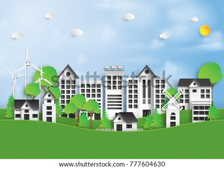 Nature landscape background paper art style.Green eco city and renewable energy of environment conservation concept.Vector illustration.
