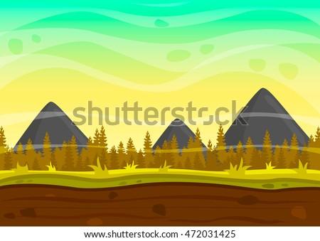 Nature landscape. Game background. Vector illustration. Cartoon game background.