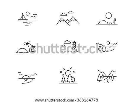 nature landscape icons  thin