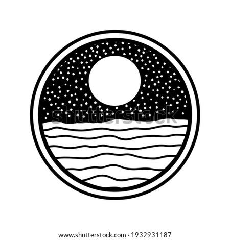Nature landscape in line art style. Hand drawn moon, sea, ocean. Icon, logo design. Branding style identity. Earth landscapes, sunset, sunrise illustration.