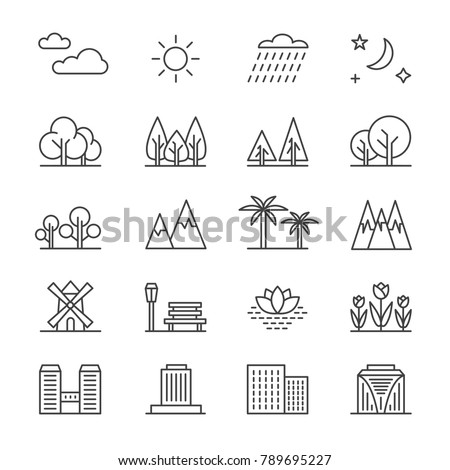 Nature landscape line vector elements and houses. Outline trees and mountains icons. City building and green tree outline illustration