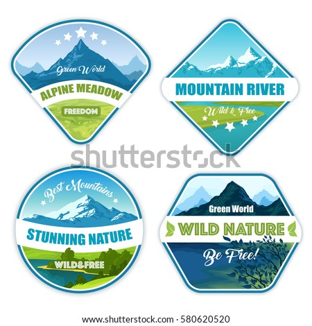 nature landscape logos set of