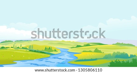 nature landscape of hills and