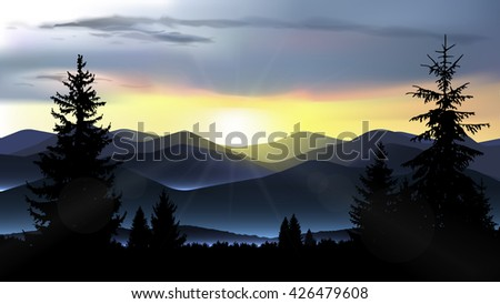nature landscape of mountains