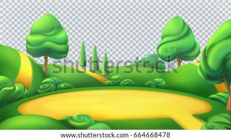 Nature landscape. Park isolated 3d vector panorama. Transparent background