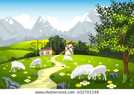 nature landscape pasture with