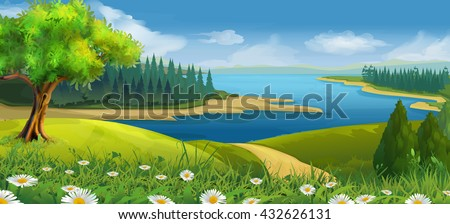 Nature landscape, stream valley, vector background
