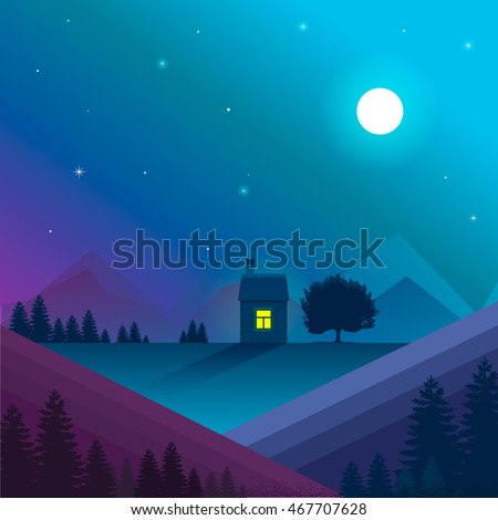 Nature landscape. Vector, eps10. Night nature landscape with lonely house in mountains with window light. Moon and star light,violet and blue colors.