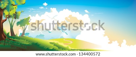 Nature landscape vector fairytale children illustration / Blue sky, nice weather, summer, spring season, warm, sun is shining, green leaves, white clouds, sunset, dawn / Text Background