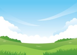 Nature landscape vector illustration. Nature landscape background. Meadow vector illustration