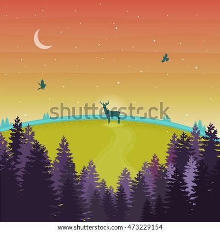 Nature landscape. Vector illustration with violet forest,trees,sunset,deer,moon,birds,stars.