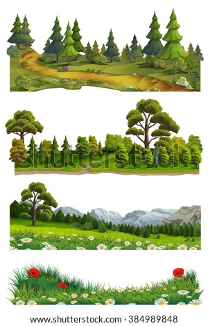 nature landscape  vector set