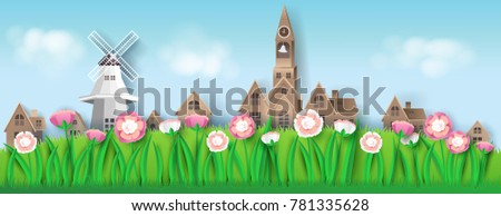 nature landscape with house, flower, meadow, paper art style, for printing, postcard, brochure.vector illustration