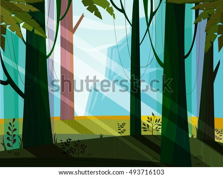 Nature landscape with jungle,mountain,forest,trees,wood,plant. Green,blue,violet colors. Minimalistic landscape nature. Jungle nature landscape. Magic. Nature vector. Nature flora. Vector, EPS 10.