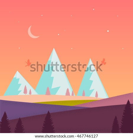 Nature landscape with mountain,moon, stars, forest, field. Violet, green, orange, blue colors. Minimalistic landscape nature. Summer evening landscape. Nature. Summer. Vector. EPS 10.