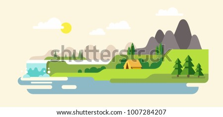Nature landscape with mountains, hills. river and waterfall. Vector flat