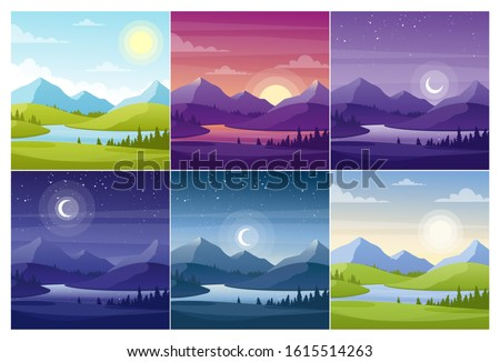Nature landscapes at different day time flat vector illustrations set. Morning and night scenery with fir trees and hill peaks silhouettes on horizon. Valley and river at sunset and sunrise background