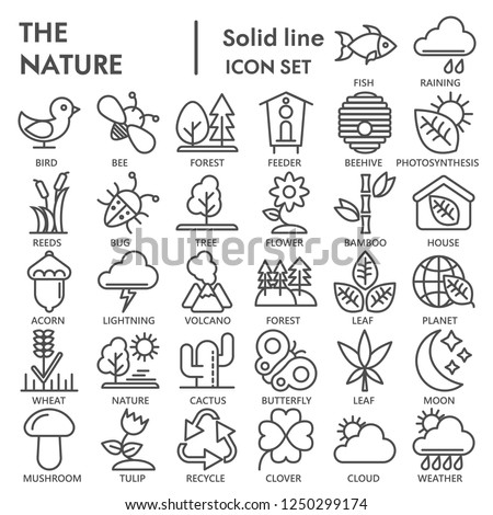 Nature line SIGNED icon set, environment symbols collection, vector sketches, logo illustrations, conservation signs linear pictograms package isolated on white background, eps 10