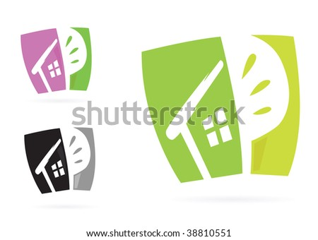 Nature living pictogram. Stylized Vector Icon. In 3 color variants.
