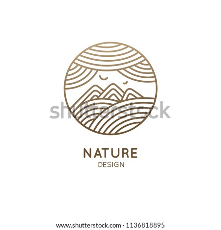 Nature logo of mountains, clouds, fields. Round linear icon of landscape. Vector emblem, badge for a travel, alternative medicine and ecology concept, spa, health, yoga Center. Japanese illustration