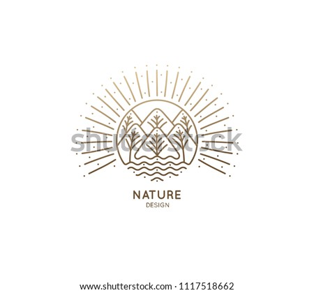 Nature logo of mountains, trees, river. Linear icon of landscape on the background of the sun. Vector emblem, badge for a travel, alternative medicine and ecology concept, spa, health and yoga Center.