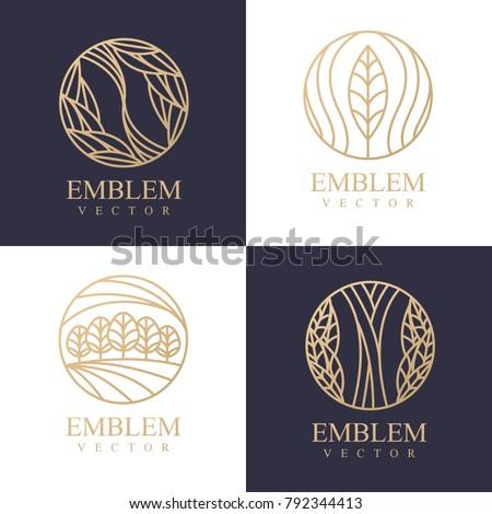 Nature logo set. Floral logo. Flower icon. Floral emblem. Cosmetics, Spa, Beauty salon, Decoration, Boutique logo. Interior Icon. Resort and Restaurant Logo. Herbal, leaf, nature icon.