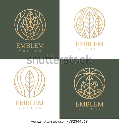 Nature logo set. Floral logo. Flower icon. Floral emblem. Cosmetics, Spa, Beauty salon, Decoration, Boutique logo. Interior Icon. Resort and Restaurant Logo. Herbal, leaf, nature icon.