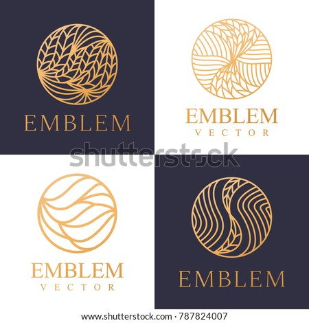 Nature logo set. Floral logo. Leaf icon. Floral emblem. Cosmetics, Spa, Beauty salon, Decoration, Boutique logo. Interior Icon. Resort and Restaurant Logo. Herbal, leaf, nature icon.