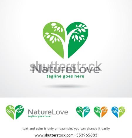 Nature Love Logo Template Design Vector