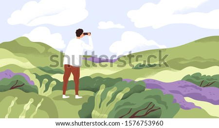 Nature lover flat vector illustration. Man with binoculars enjoying scenic landscape. Searching new horizons, life goals. Explorer cartoon character. Outdoor activity, discovery, exploration.