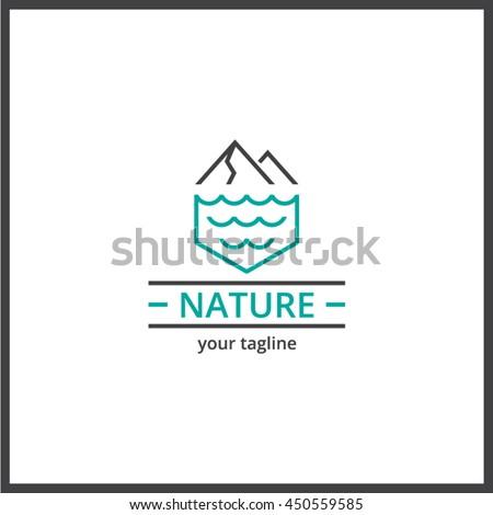 nature mountain sea logo