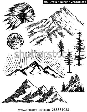 nature mountain vector...