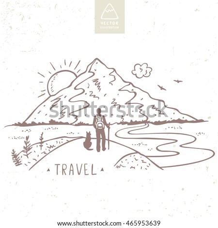 nature mountains with traveler