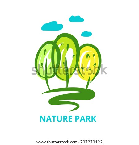 Nature national park. Template logo with silhouette tree. Symbol logotype, badge isolated green forest. Concept image for camping, outdoor activity and park recreation. Vector illustration.
