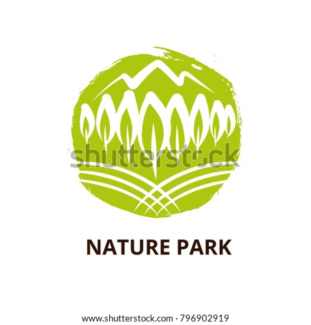 Nature national park with mountain. Template logo with silhouette tree. Symbol logotype, badge. Concept image for camping, outdoor activity and park recreation.