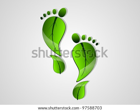 Nature or Eco abstract background. Footprint made with green leaves. EPS 10 Vector illustration