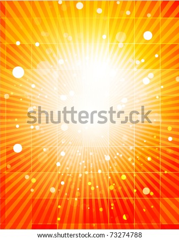 Nature orange light background and glass rectangles. Vector illustration