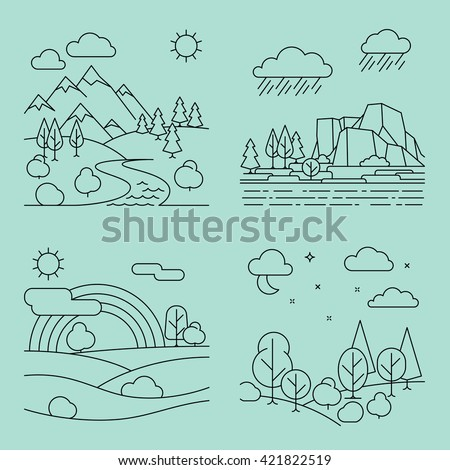 nature outline landscapes with