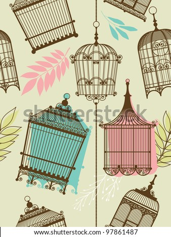 Nature Pattern with birdcages and leaves