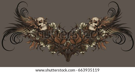 nature patterns with skull and
