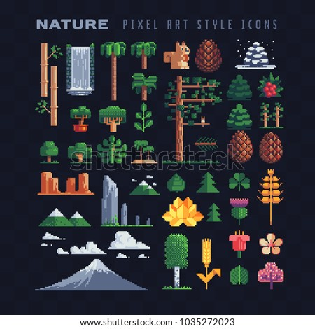nature pixel art 80s style